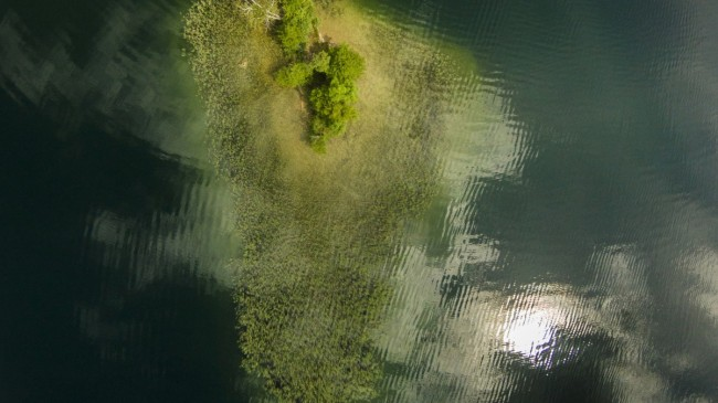 Tiny island in the lake of Galvė