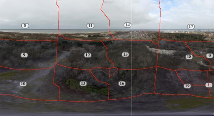 Op deze screenshot is goed te zien hoe een panorama opgebouwd is uit afzonderlijke luchtfoto's